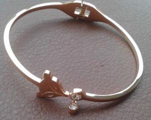 China 316L S.Steel Ladies Silver Platinum Italy Paris Designer FOX DIAMOND Style Bracelet Bangle on sale