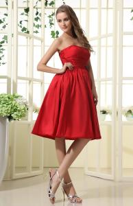 China Fashion 2013 Strapless A Line Taffeta Multi Colored Bridesmaid Dresses for Girls , Red on sale