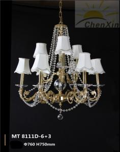 China Lobby Chandelier Pendant Lights With Crystal Chain Fabric Lamp Shaded on sale