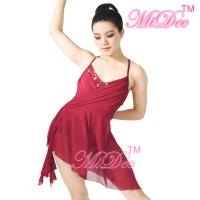 China Camisole V - Neck High-Low Lyrical Dress Latino Dance Wear 87% Polyester 13% Spandex on sale