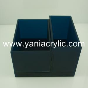 China Home Black Grinding Perspex Elegant Contemporary Clear Acrylic Storage Containers on sale