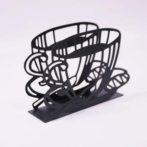 China Dinner Metal Napkin Holder Black Coffee Cup Shape Paper Napkin Holder 15 X 4 X 10cm on sale