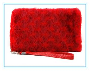 China 2015 Red plush lady purse bag,cell phone wallet bag on sale