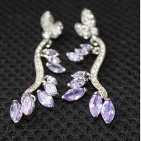 Luxurious wedding jewelry  AAA cubic zircon earrings, daisy amethyst metal casting jewelry  dangling earrings for women