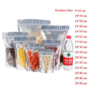 China Resealable Clear Transparent Aluminum Foil Bag Self Seal pet/pe Plastic Zipper Ziplock Packing Food Bag on sale