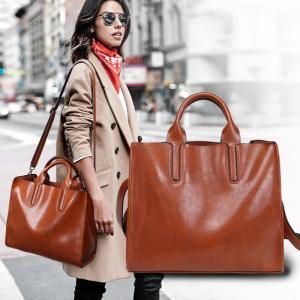 China Oil Pu Leather Shoulder Bag Vintage , Womens Leather Laptop Bag With Long Belt Black on sale