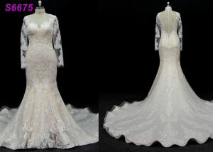 China long sleeves customize made lace application bridal gown wedding dresses supplier