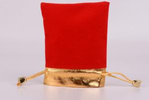 China Red Custom Jewelry Packaging Jewelry Handmade Velvet Pouches Drawstring Bag For Shop on sale