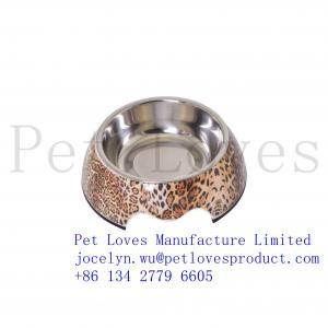 China Wholesale High Quality Dog Bowl Personalized Non-toxic Stainless Steel Leopard Bowls on sale