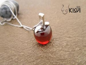 China 925 silver & crystal sterling silver gemstone pendant with red crystal W-VB979 on sale