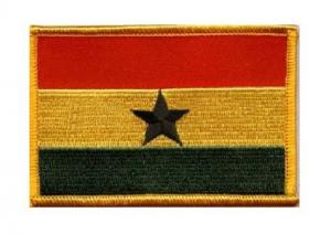 China Custom 5cm*10cm, sew-on and plastic backing twill 100% embroidered flag patches on sale