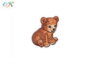 China Kids Clothes Embroidered Iron On Patch , Teddy Bear Custom Embroidery Patch on sale