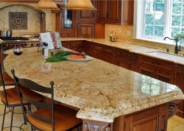 Light Beige Block Granite Stone Kitchen Countertops Sparkly