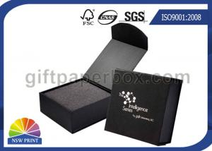 China Black or Red Custom Jewelry Gift Box with Logo Printed for Wedding Ring Packaging on sale