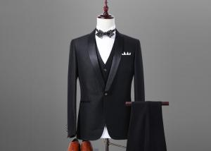 China Welt Pocket Mens Fitted Black Wedding Suit Shawl Lapel Satin Stitching Italian Style on sale