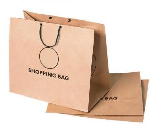 China Custom Kraft Simple Paper Bag Square Bottom Printed Logo Recycled Materials on sale