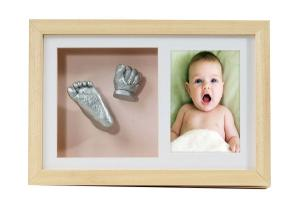 China Newborn 3D Baby Casting Kit , Artificial Style Natural Wooden Photo Frame on sale