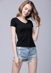 China Black Color Women's Short Sleeve V Neck T Shirts Computer Knitting Technics on sale