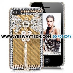 China Lovely Butterfly Rhinestone Case For iPhone 4S - Golden on sale