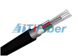 China GYTA  OM1 / OM2 Aerial Fiber Optic Wire Black Jacket With Corrugated Steel on sale