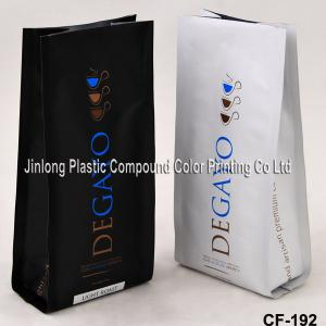 China Aluminium Foil Plastic Coffee Packaging Bags Quad Sealed With Side Gusset on sale