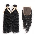 8 Inch Jerry Curly Bundles With Free Part Closure / Peruvian Hair Extensions For Ladys