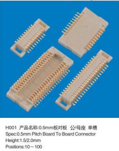 China SMD Female 0.5mm Pitch Board To Board Header Connector Double Rows Height 1.5MM on sale