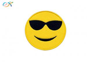 China Twill Material Iron On Embroidered Patches DIY Jeans Jacket Custom Emoji Smile on sale