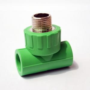 China Green White PPR Pipe Fittings Male Thread Tee , Plastic Pipe Compression Fittings on sale