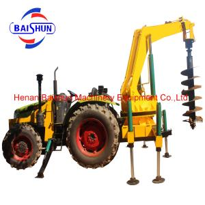 China Multifunctional tractor mounted auger drilling head to drill telegraph pole hole and erect the telegraph pole on sale