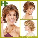Das perucas sintéticas curtos do cabelo da cor de Brown perucas de alta temperatura da fibra para mulheres