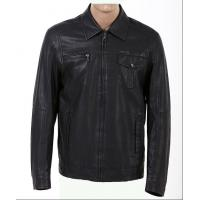 China Custom XXXL Black Mens Western Motorcycle knitted  Leather pu Jacket on sale