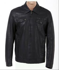 China Obra clásica de encargo, tamaño extra grande, chaqueta de cuero alineada paño grueso y suave occidental para hombre negro de la motocicleta supplier