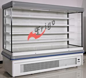 China Adjustable Multideck Open Front Refrigerated Display Case With White Epoxy Shelf on sale