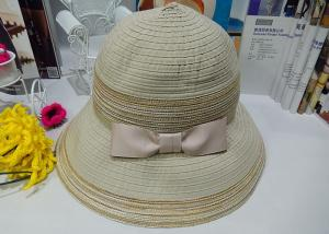 China Pink / Beign 9cm Brim Spring Cloth Womens Sun Hats With Bowknot Band For Party on sale