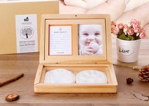 China Souvenir Gift Baby keepsake Box , Solid Wood Baby Hand And Footprints Photo Frame on sale
