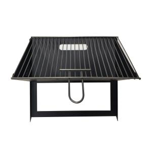 China Black Carbon Steel 1.0mm Foldable Charcoal BBQ Grill With Grid on sale