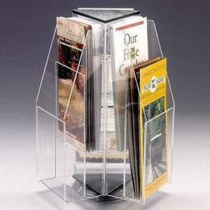 China Rotating Brochure Acrylic Countertop Display Holder , Durable acrylic display stands on sale