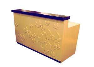 Quality Floor Standing Wood Retail Checkout Counter Customized Light Duty With Engraved for sale