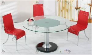 China Any Color Modern Dining Room Chromed Iron Tempered glass top round dining table on sale