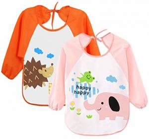 China Cute Unisex Baby Bibs / 6 Months-3 Years Baby Weaning Bibs With Sleeves on sale