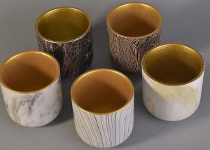 China Bark Water Transfer Printing Handmade Ceramic Candle Holders with Golden Plating Inside on sale