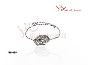 China 7-Inch Peacock Feather Charms 925 Sterling Silver Chain Bracelet In Silver Plated on sale