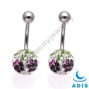 China Stainless Steel Ball Belly Piercing Jewelry With Cz Stones Navel Rings on sale