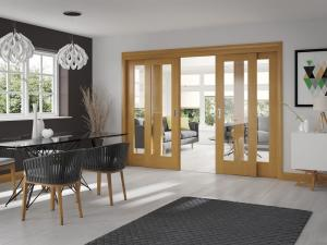 China Four Natural Wooden Sliding Doors Glass Painted Teak Ash Cherry Veneer Type on sale