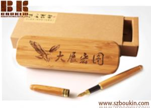 China Large-capacity wooden pencil case  polished by hand custom engraving printing logo advertising promotional gift on sale