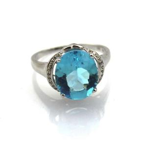 China Women Jewelry 925 Silver  10mmx12mm Blue Topaz Cubic Zircon  Gemstone Ring(R238) on sale