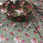 Embroidered Floral Lace Fabric Netting Cloth With Multi Colored Flower Pattern