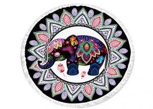 China Original India Thai Roundie Elephant Beach Towel Multi Color Printed on sale