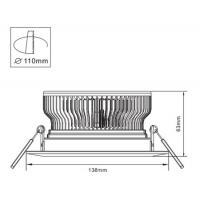 Cooling Fin 12W Epistar LED Down Lighting Lamps / LED Ceiling Lamp 3000K, 4000k, 6000K